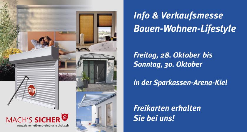 Besuchen Sie uns auf der Bauen-Wohnen-Lifestyle Messe in Kiel