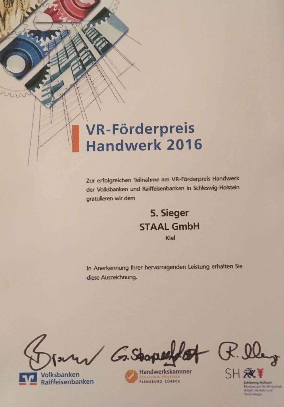 VR-Förderpreis Handwerk 2016
