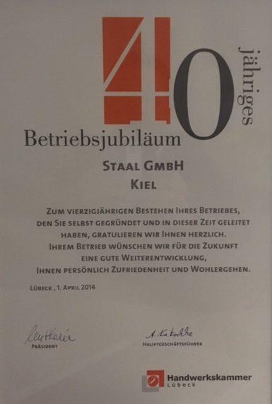Betriebsjubiläum 40 Jahre Staal GmbH Kiel