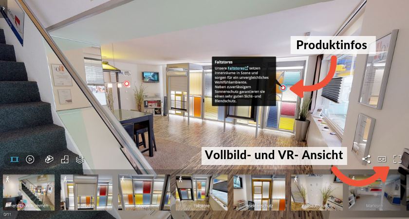 Bedienung unseres 3D-Showrooms
